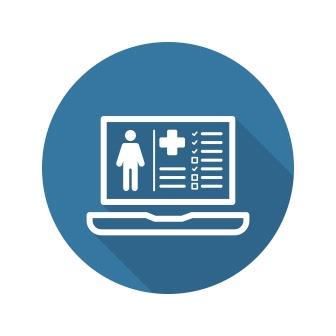 Patient Medical Record Icon with Laptop. Flat Design. Isolated.